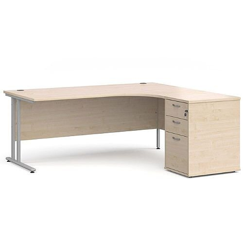 Maestro 25 SL right hand ergonomic desk 1800mm with silver cantilever frame and desk high pedestal - maple