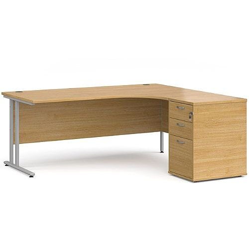 Maestro 25 SL right hand ergonomic desk 1800mm with silver cantilever frame and desk high pedestal - oak