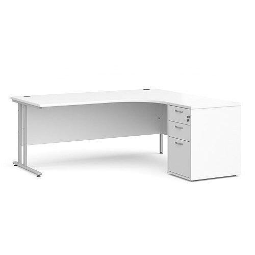 Maestro 25 SL right hand ergonomic desk 1800mm with silver cantilever frame and desk high pedestal - white