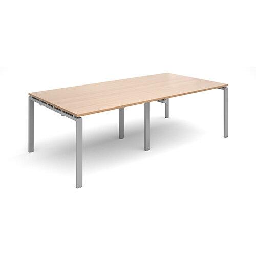 Adapt II rectangular boardroom table 2400mm x 1200mm - silver frame, beech top