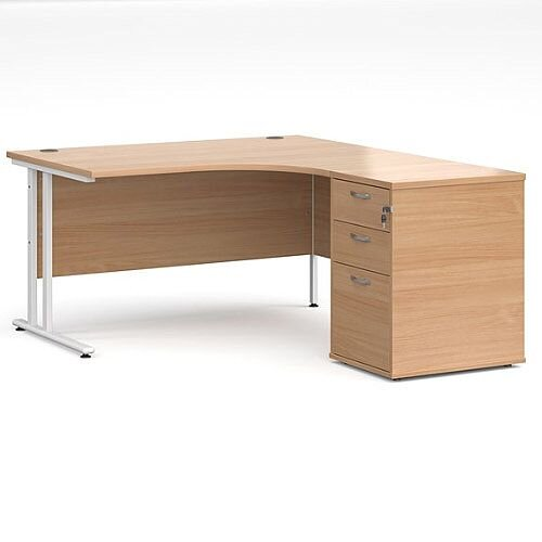 Maestro 25 WL right hand ergonomic desk 1400mm with white cantilever frame and desk high pedestal - beech