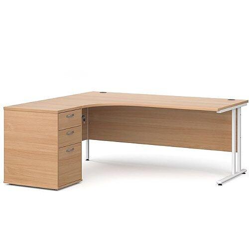 Maestro 25 WL left hand ergonomic desk 1800mm with white cantilever frame and desk high pedestal - beech