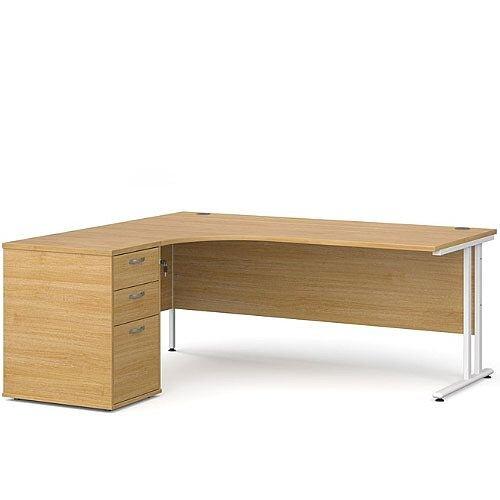 Maestro 25 WL left hand ergonomic desk 1800mm with white cantilever frame and desk high pedestal - oak