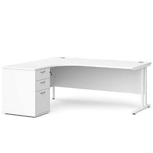 Maestro 25 WL left hand ergonomic desk 1800mm with white cantilever frame and desk high pedestal - white
