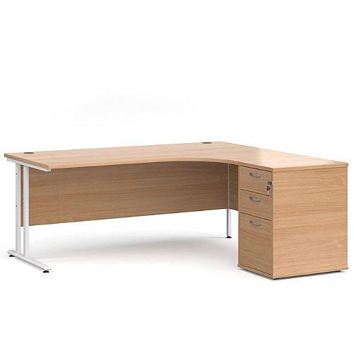 Maestro 25 WL right hand ergonomic desk 1800mm with white cantilever frame and desk high pedestal - beech