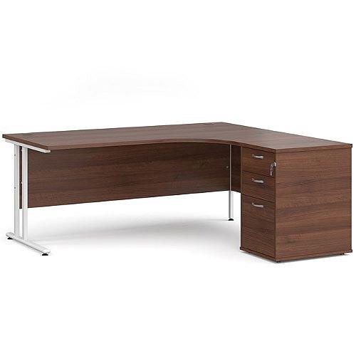 Maestro 25 WL right hand ergonomic desk 1800mm with white cantilever frame and desk high pedestal - walnut