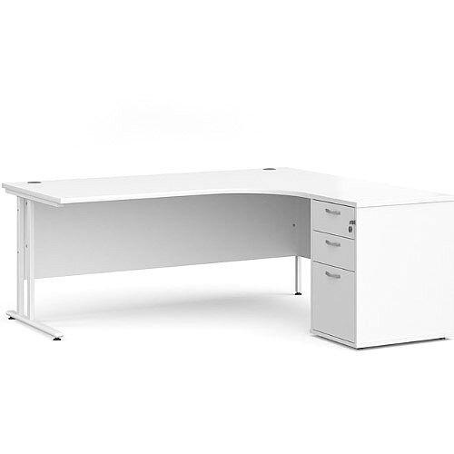 Maestro 25 WL right hand ergonomic desk 1800mm with white cantilever frame and desk high pedestal - white