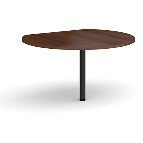 D-end desk extension circular table 1200mm diameter with black leg - walnut top