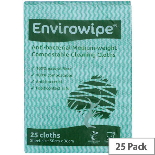 Envirowipe Antibacterial Colour Coded Cleaning Cloths 25 Pack EWF152