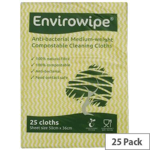 Envirowipe Antibacterial Yellow Colour Coded Cleaning Cloths 25 Pack EWF153
