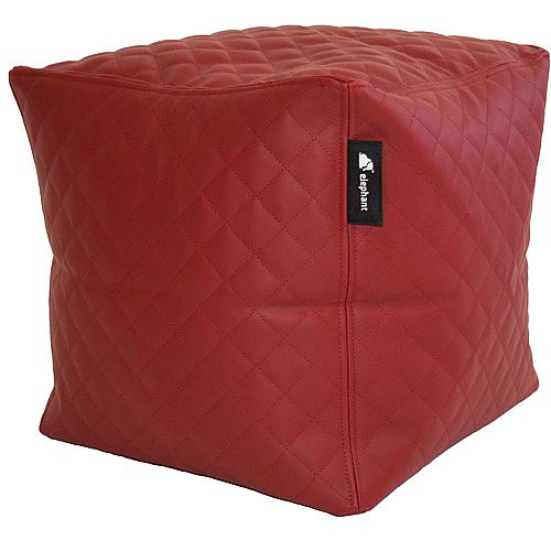 Elephant Cube Chair 350x350x400mm Vibrant Red Quilted