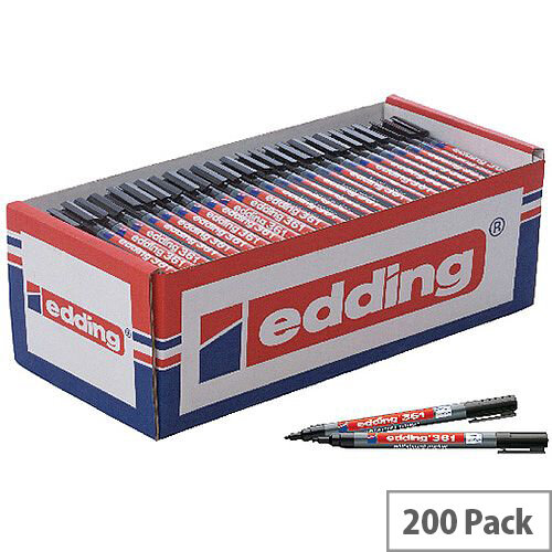 Edding 361 Drywipe Black Markers (Pack 200) CP40
