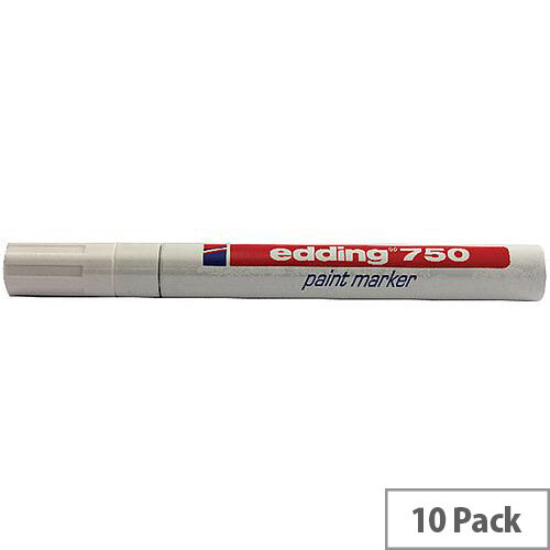 Edding 750 Paint Marker Pen Opaque Bullet Tip White 10 Pack 750-049