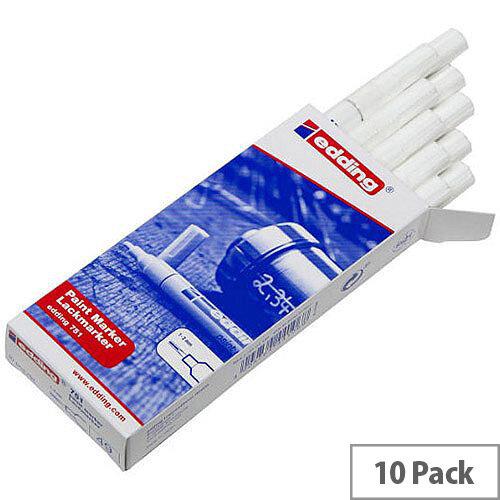 Edding White Bullet Tip Paint Marker Pen Pack of 10