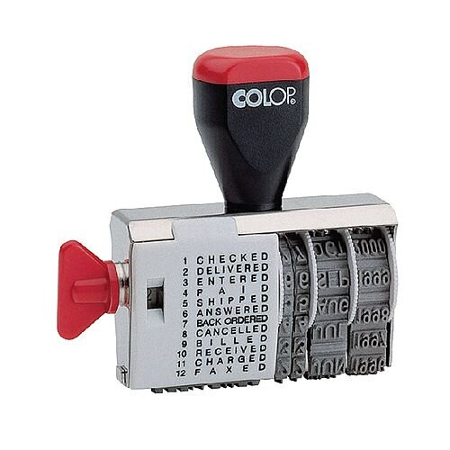Colop 04000/WD Dial A Phrase Dater 04000WD - Rubber phrase and date stamp - For use with a separate stamp pad