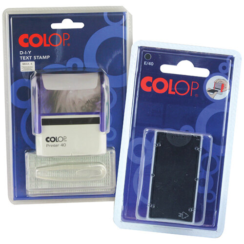 COLOP Printer 40/2 DIY Text Stamp FOC Pk2 E/40 Replacement Ink Pad Black EM813717