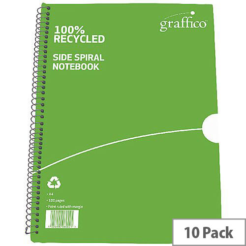 Graffico Recycled Spiral Bound A4 Notebook Feint Ruled 100 Pages 9100035