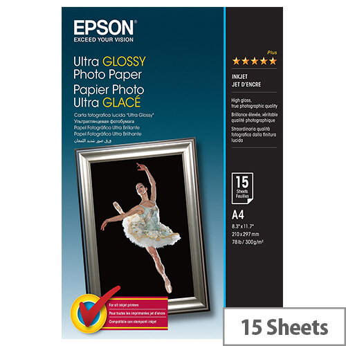Epson A4 Ultra Glossy Photo Paper A4 (Pack of 15)