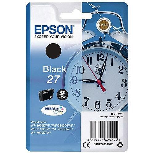 Epson Alarm Clock 27 Black Inkjet Cartridge (Pack of 1) C13T27014010 C13T27014012