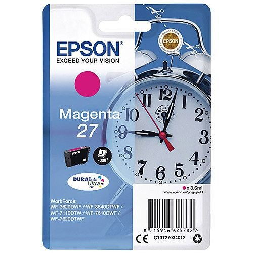 Epson Alarm Clock 27 Magenta Inkjet Cartridge (Pack of 1) C13T27034010 C13T27034012