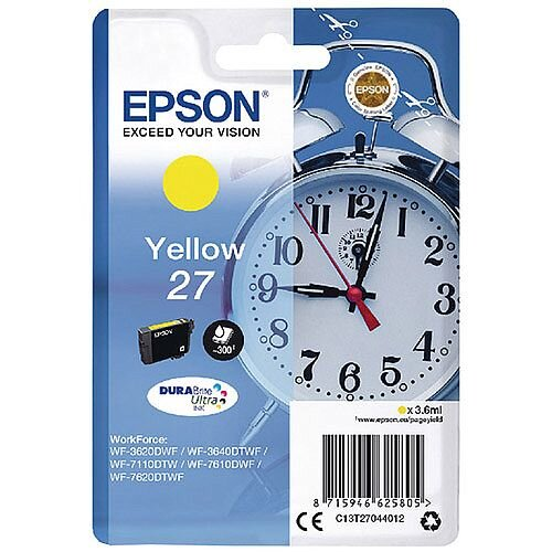 Epson Alarm Clock 27 Yellow Inkjet Cartridge (Pack of 1) C13T27044010 C13T27044012