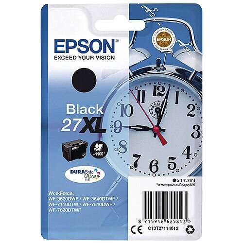 Epson Alarm Clock 27XL Black High Yield Inkjet Cartridge (Pack of 1) C13T27114010 C13T27114012