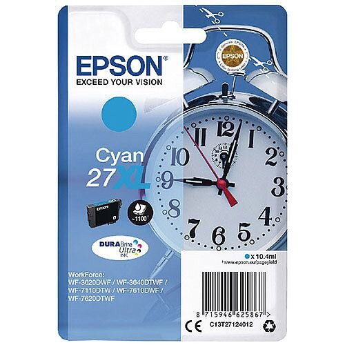 Epson Alarm Clock 27XL Cyan High Yield Inkjet Cartridge (Pack of 1) C13T27124010 C13T27124012