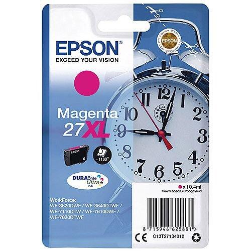 Epson Alarm Clock 27XL Magenta High Yield Inkjet Cartridge (Pack of 1) C13T27134010 C13T27134012