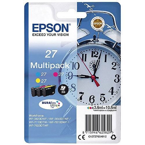 Epson Alarm Clock 27 Cyan/Magenta/Yellow Inkjet Cartridges (Pack of 3) C13T27054010 C13T27054012