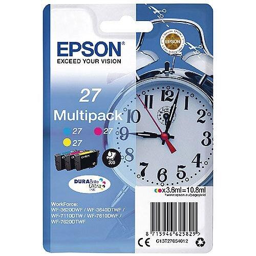 Epson Alarm Clock 27 Cyan/Magenta/Yellow Inkjet Cartridges (Pack of 3) C13T27054010 C13T27054012