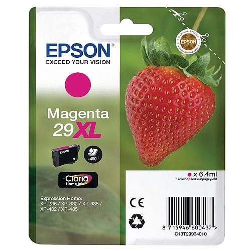 Epson 29XL Magenta High Capacity Inkjet Cartridge Strawberry Series C13T29934010 / T2993 C13T29934012