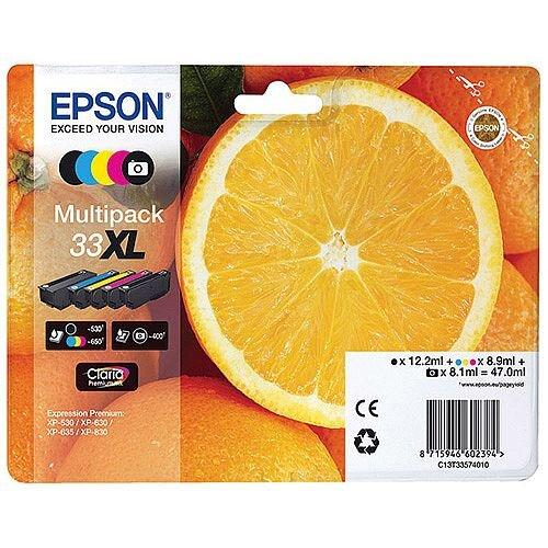 Epson 33XL Black/Cyan/Magenta/Yellow Inkjet Cartridge Value Pack C13T33574010 / T3357