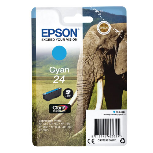 Epson 24 (T2422) Cyan Original Inkjet Cartridge Capacity 4.6ml Page Life 360pp Cyan Ref T24224010 C13T24224012