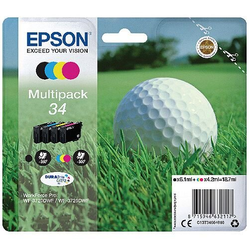 Epson Golf Ball 34 Ink Cartridges - 4 Colour DURABrite Ultra Ink - Black, Cyan, Magenta and Yellow