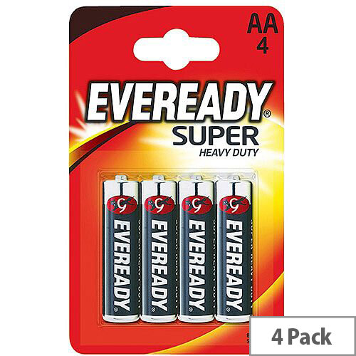 Eveready Battery Zinc Batteries Silver AA Pack 4 R6B4UP