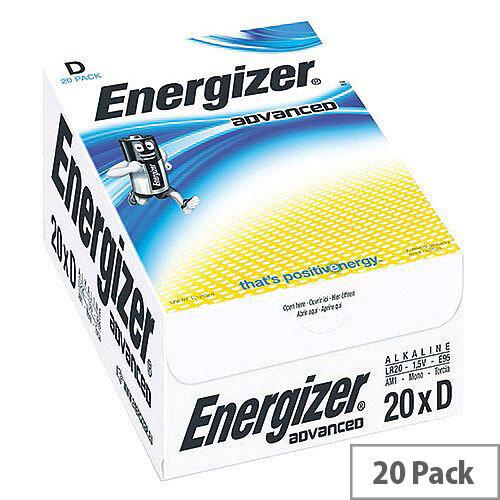 Energizer Advanced D Alkaline Batteries E95 (Pack of 20)
