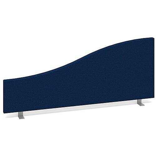 Wave Fabric Upholstered Office Desk Screen 1000mmx400mm/200mm - Blue