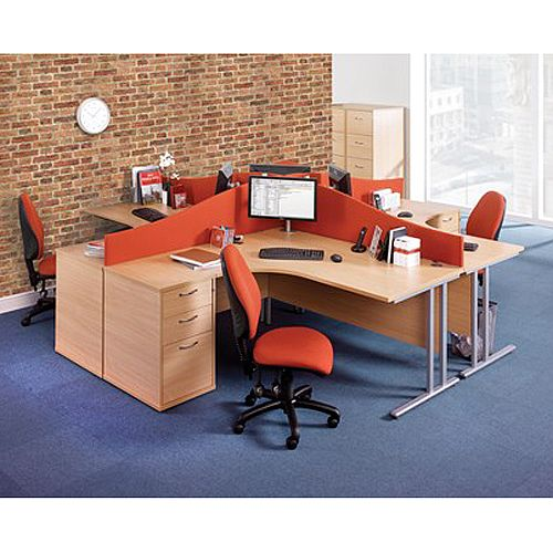 Wave Fabric Upholstered Office Desk Screen 1000mmx400mm/200mm - Charcoal