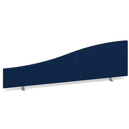 Wave Fabric Upholstered Office Desk Screen 1400mm/200mmx400mm/200mm - Blue
