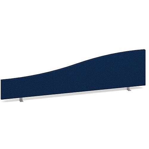 Wave Fabric Upholstered Office Desk Screen 1600mmx400mm/200mm - Blue