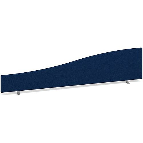 Wave Fabric Upholstered Office Desk Screen 1800mmx400mm/200mm - Blue