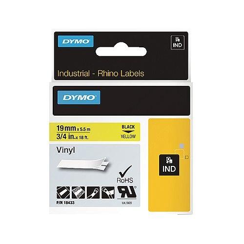 Dymo Rhino Coloured Vinyl Labels Yellow 19mm x 5.5m 18433