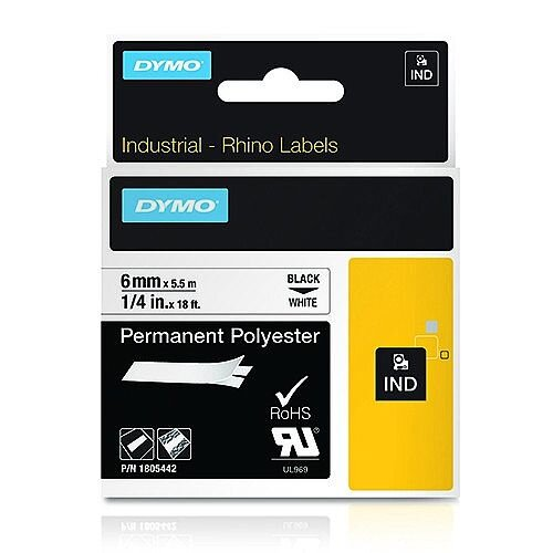 Dymo RhinoPRO 18766 Industrial Tape Permanent 9mm x 5.5m White S0718240