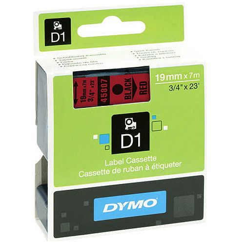 Dymo Black on Red 2000/5500 Standard Tape 19mmx7m