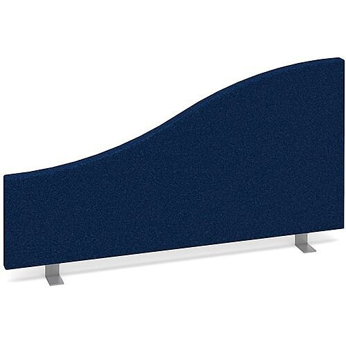 Wave Fabric Upholstered Office Desk Screen 800mmx400mm/200mm - Blue