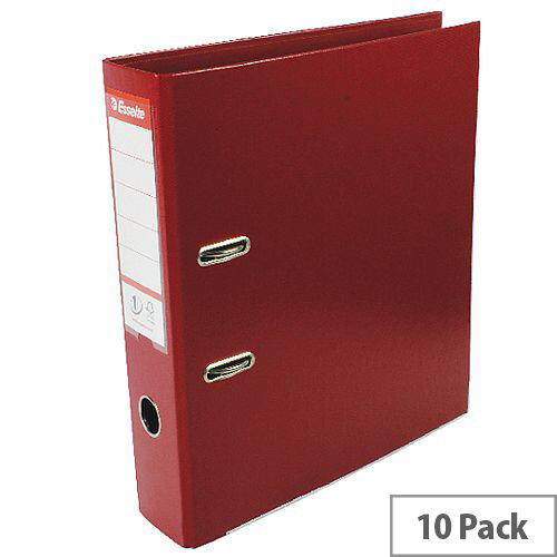 Esselte A4 Polypropylene 75mm Bordeaux Lever Arch File Pack of 10 48069