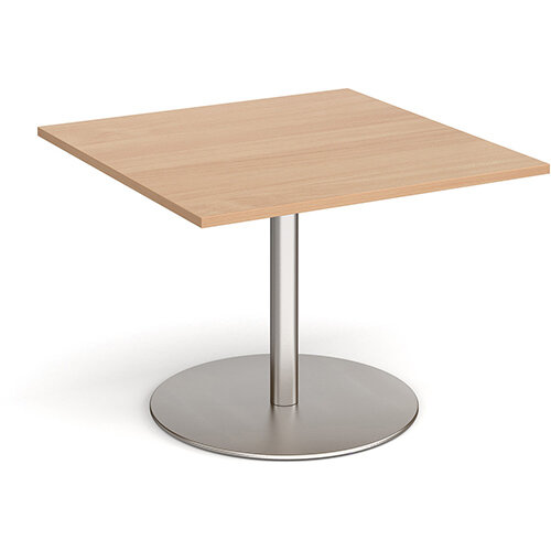 Eternal Square Boardroom Table Extension 1000mm x 1000mm - Brushed Steel Base &Beech Top