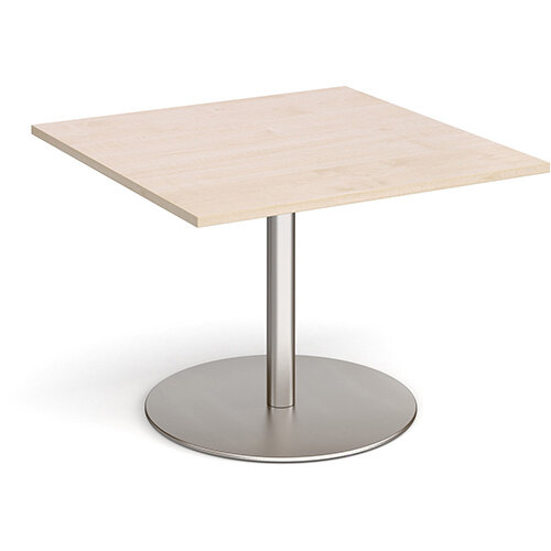 Eternal Square Boardroom Table Extension 1000mm x 1000mm - Brushed Steel Base &Maple Top