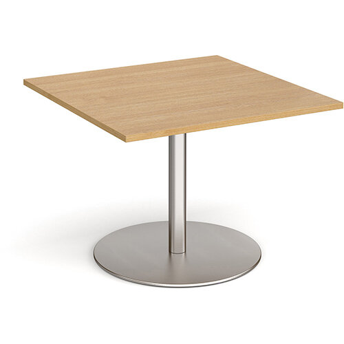 Eternal Square Boardroom Table Extension 1000mm x 1000mm - Brushed Steel Base &Oak Top