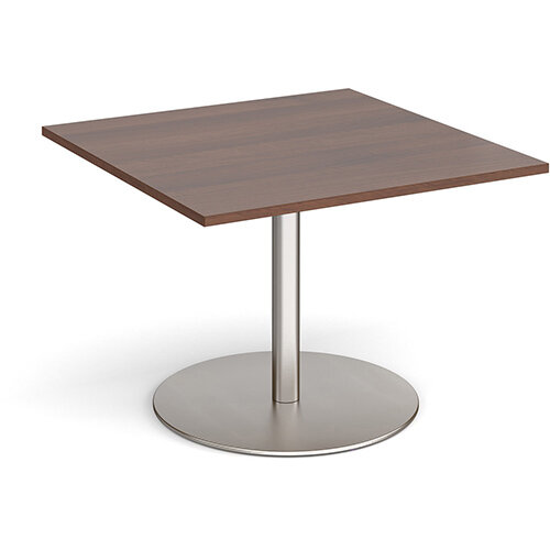Eternal Square Boardroom Table Extension 1000mm x 1000mm - Brushed Steel Base &Walnut Top